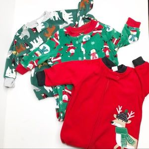 Carters Holiday Themed Fleece Pijama Onesies NWT